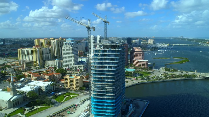 The Bristol waterfront residences condominium West Palm Beach FL 4k aerial footage