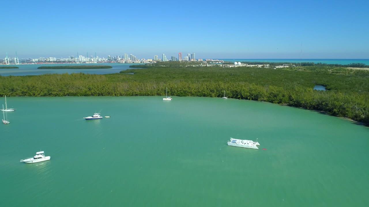 Aerial video nature preserve Key Biscayne Miami FL