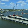Drone inspection footage Southern Boulevard Bridge construction 4k