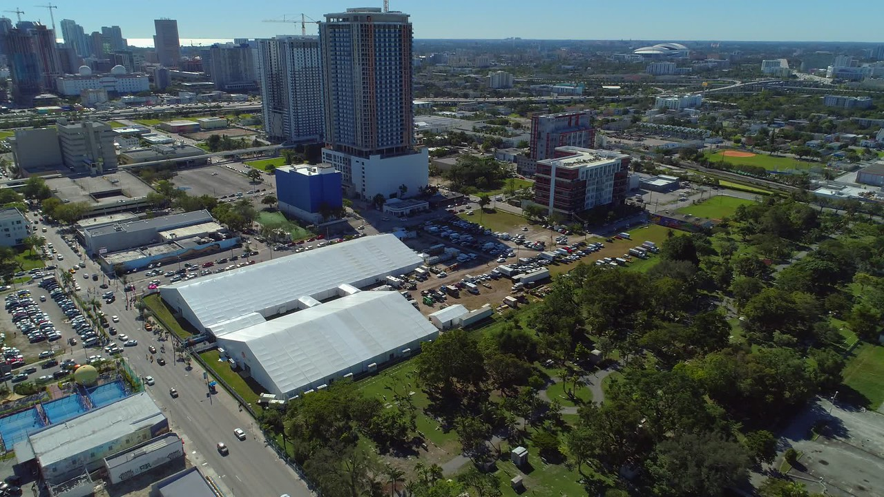 Aerial drone video Midtown Miami art basel 2017 tents