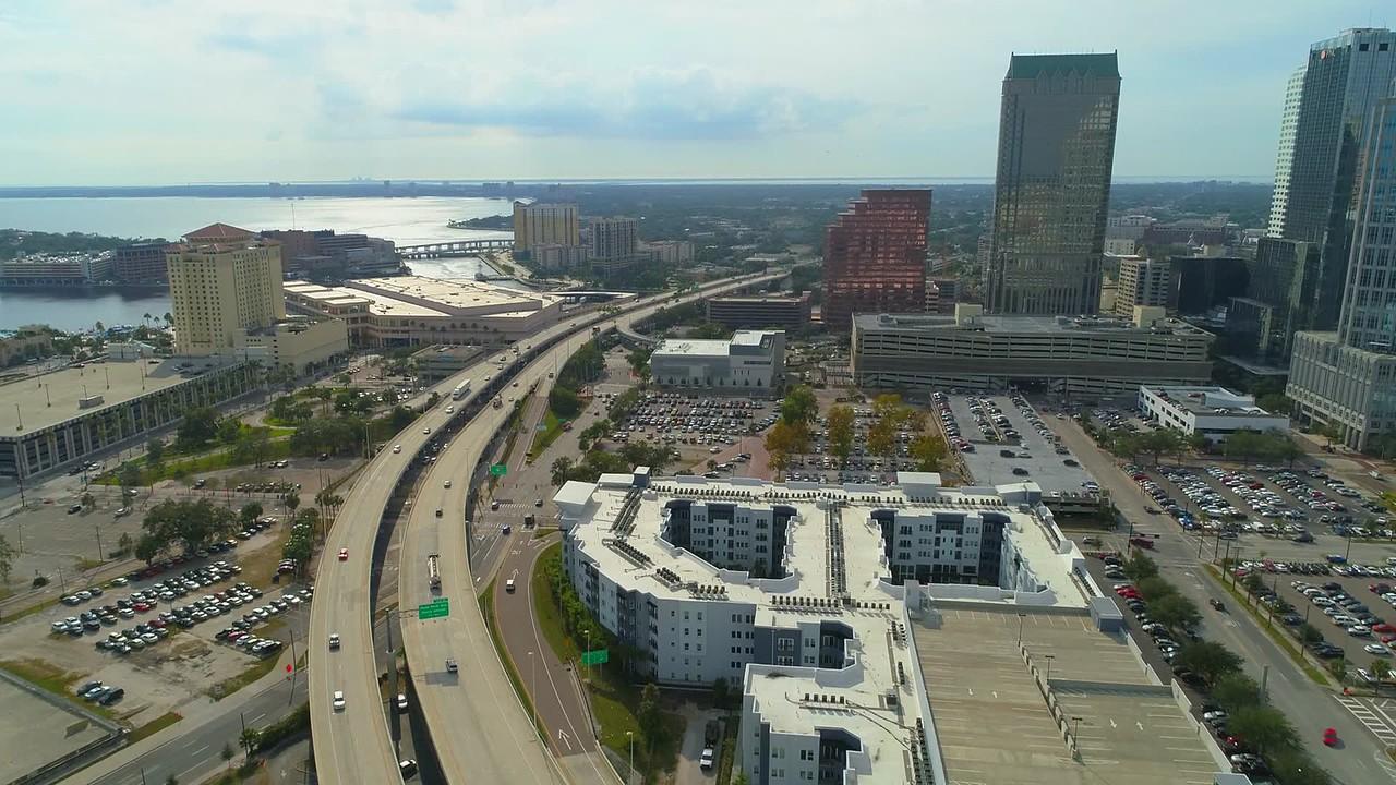 Aerial video Selmon Expressway Tampa FL Downtown 4k 60p