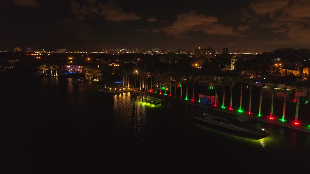 Stock video of Miami Beach mansions aerials at night