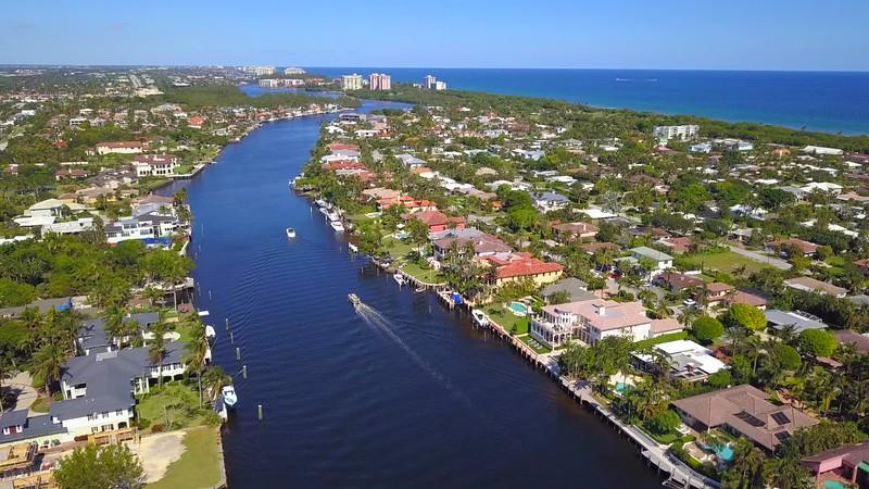 Aerial waterfront homes Boca Raton Florida USA