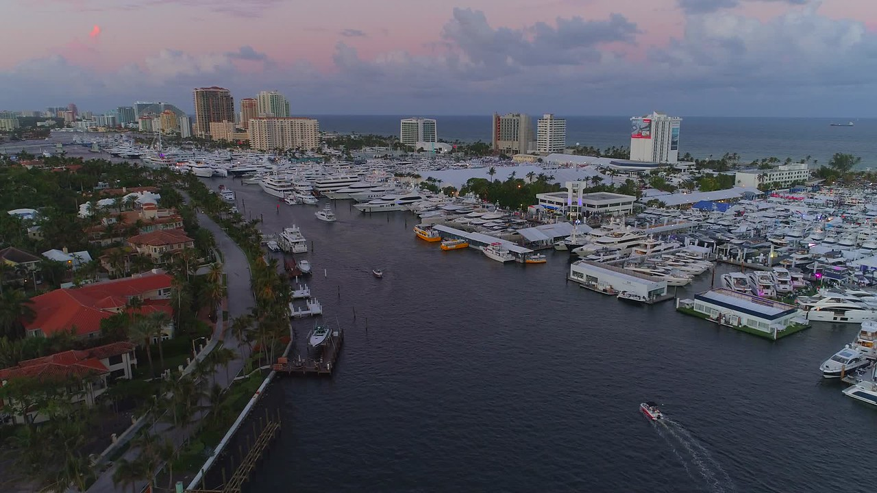 Aerial drone footage Fort Lauderdale International Boat yacht show 4k