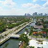 Aerial video footage of Las Olas Boulevard Fort Lauderdale towards Downtown 4k
