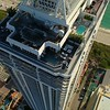 Aerial pull out shot Blue and Green Diamond miami Beach 4k 60p