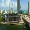 Cranes over Hyde Beach House Hallandale construction site aerial drone inspection 4k 60p