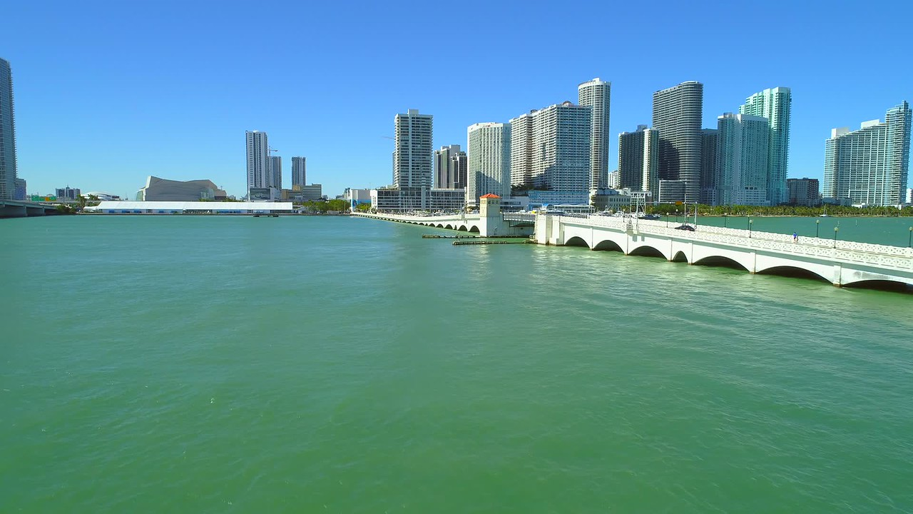 Aerial reveal Venetian Causeway Draw Bridge Miami Beach FL