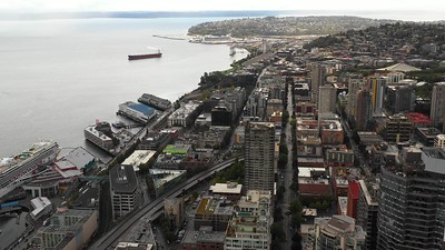 Seattle by the bay aerial drone footage
