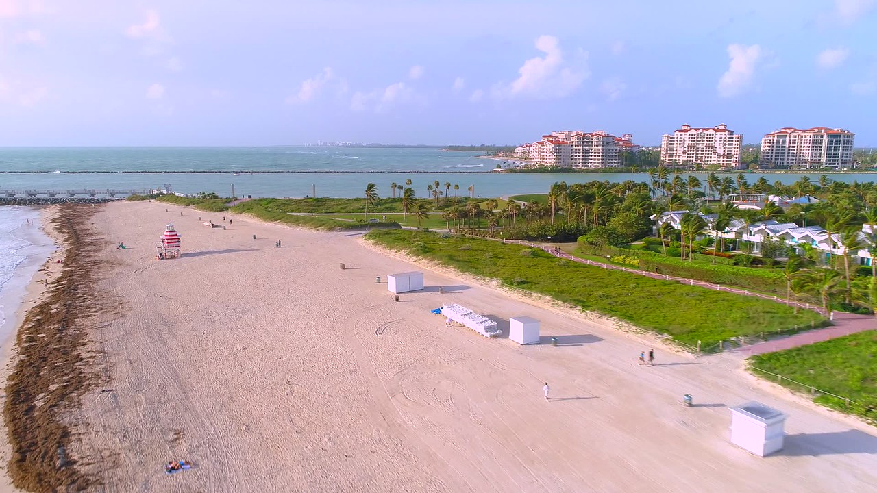 Aerial Miami Beach reveal South Pointe Park 4k