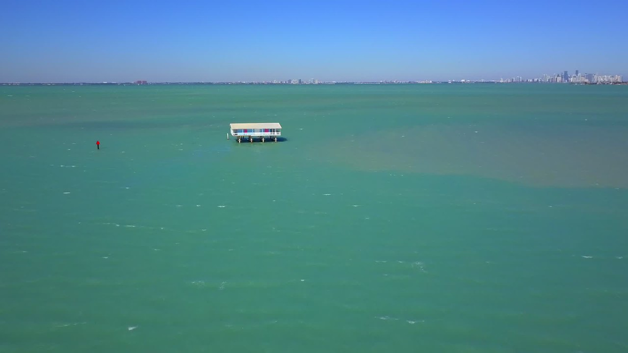 Stiltsville Biscayne Bay Miami Florida 4k 24p aerial video