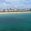 Fast aerial approach Miami Beach Ocean Drive south