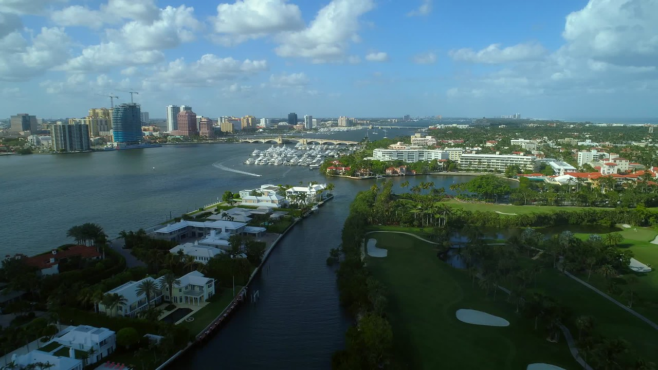 Aerial West Palm Beach hyperlapse aerial video 4k