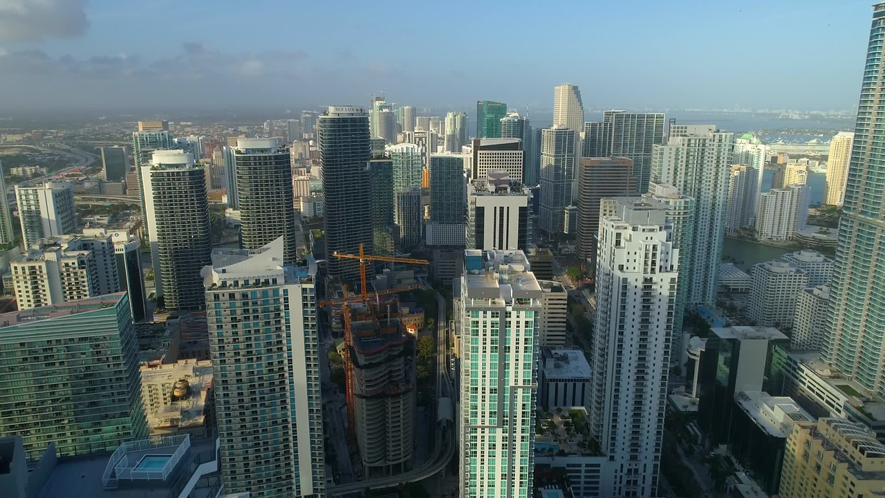 Brickell Flatiron under construction Miami Florida aerial drone video