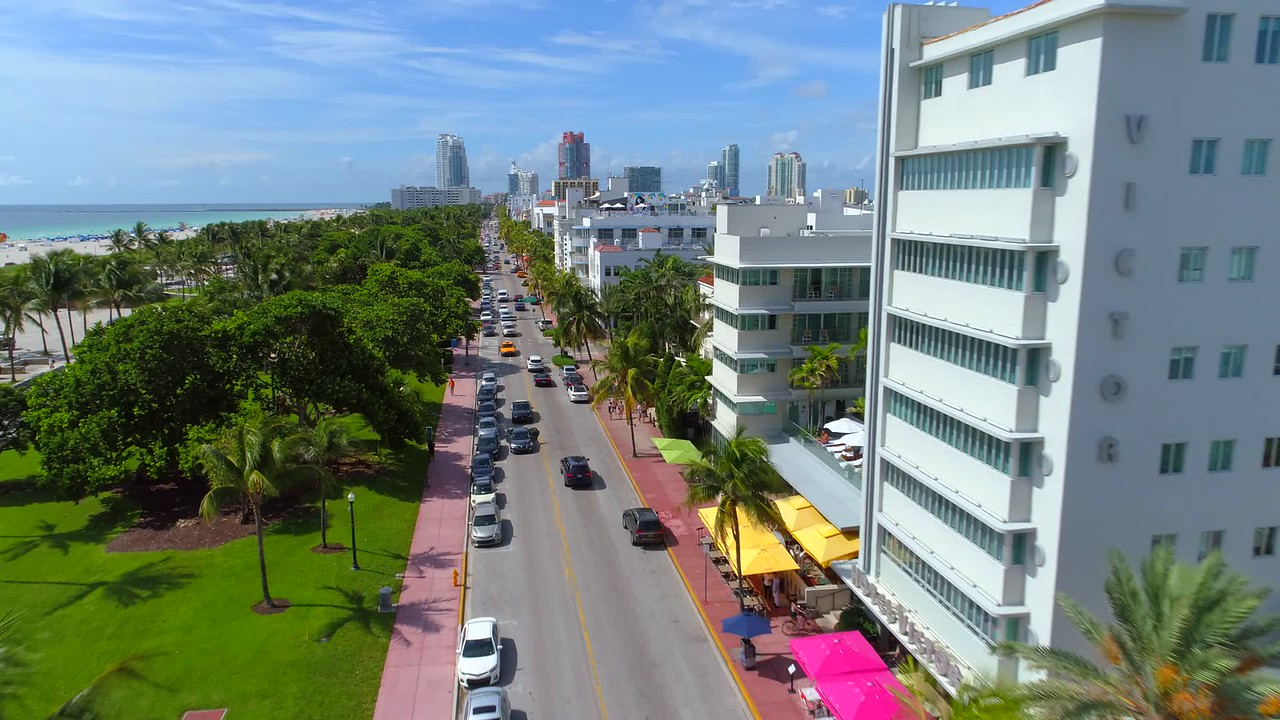 Ocean Drive restaurants and hotels aerial shot