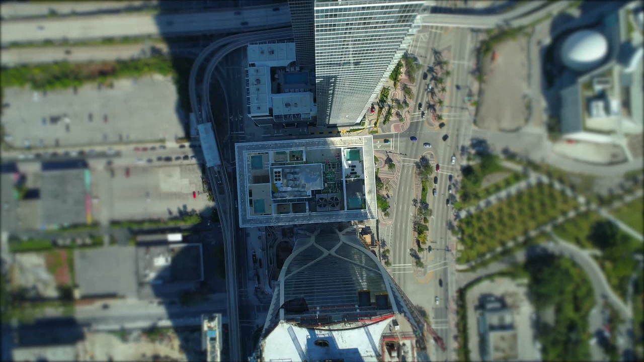 Aerial tilt shift over highrise buildings