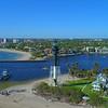 Aerial pull away Hillsboro Lighthouse Inlet Pompano Beach FL