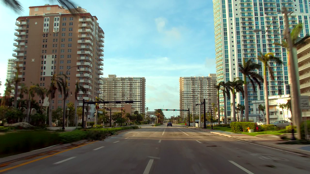 Drivers pov streets of Hallandale after Hurricane Irma