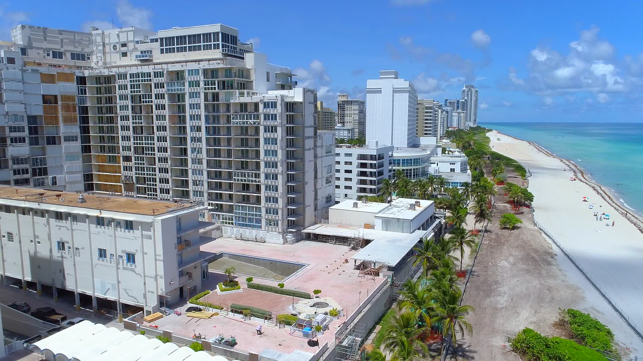 Aerial video Miami Beach during Hurricane Irma evacuation Sep 7, 2017