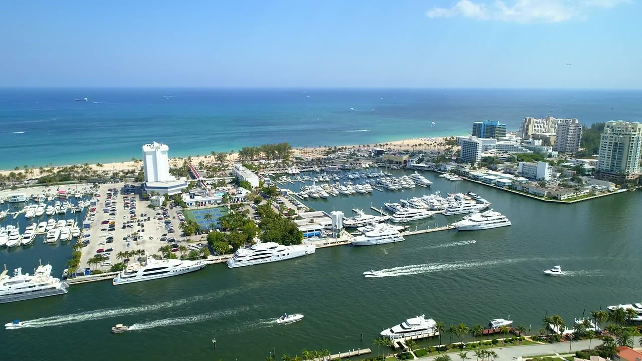 Aerial footage Fort Lauderdale Florida Bahia Mar Marina