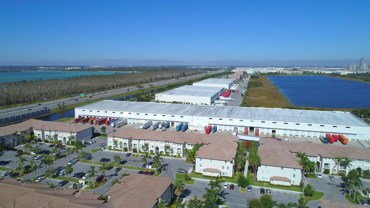 Aerial video Doral Florida industrial warehouse district