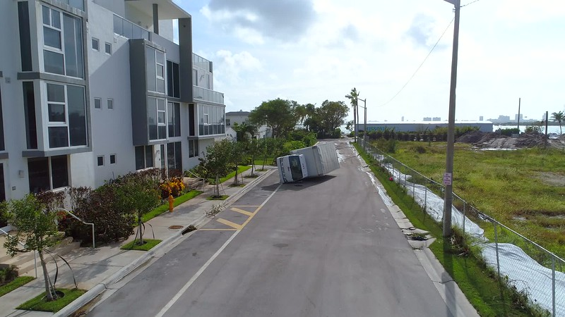 Aerial image of a truck turned over from Hurricane Irma winds