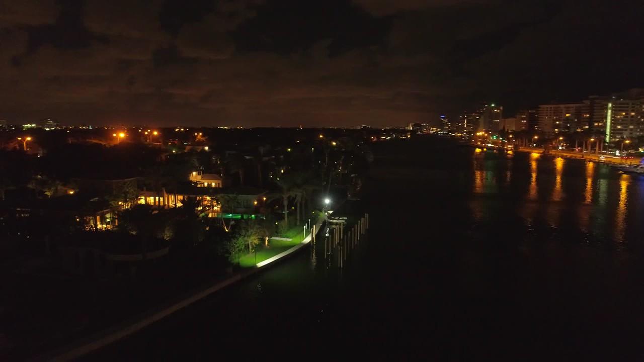 Night mansion aerial footage Miami 4k