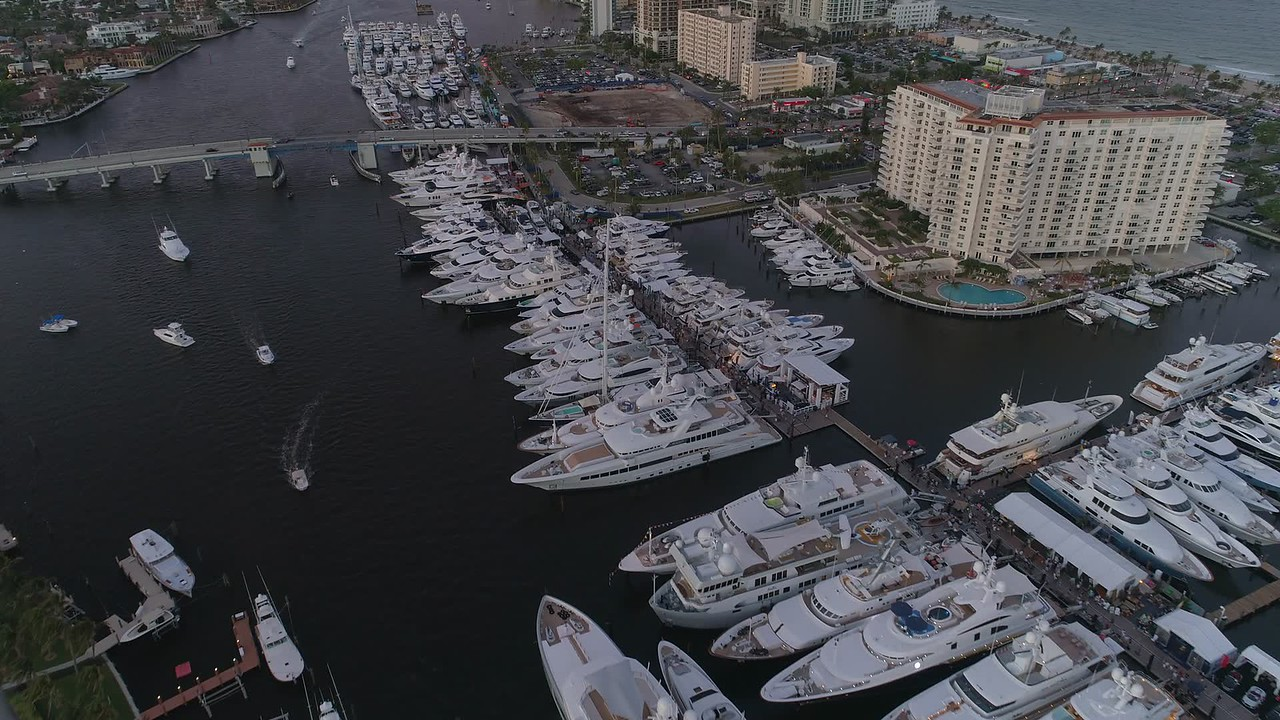 Superyachts in Fort Lauderdale stock video