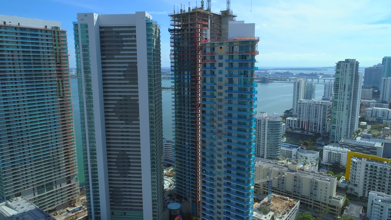 Aerial shot new highrise towers Miami on the bay