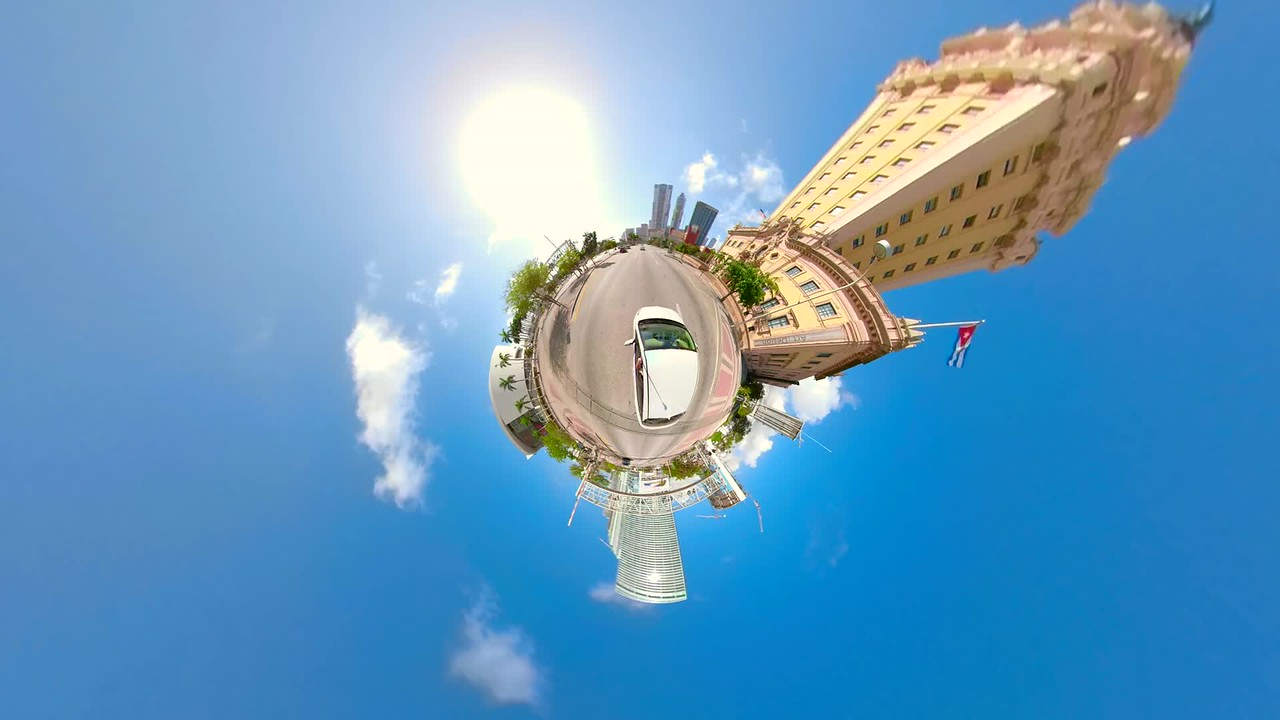 Tiny planet driving Downtown Miami Florida USA