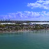 Drone video footage Miami boat show Key Biscayne tents and traffic