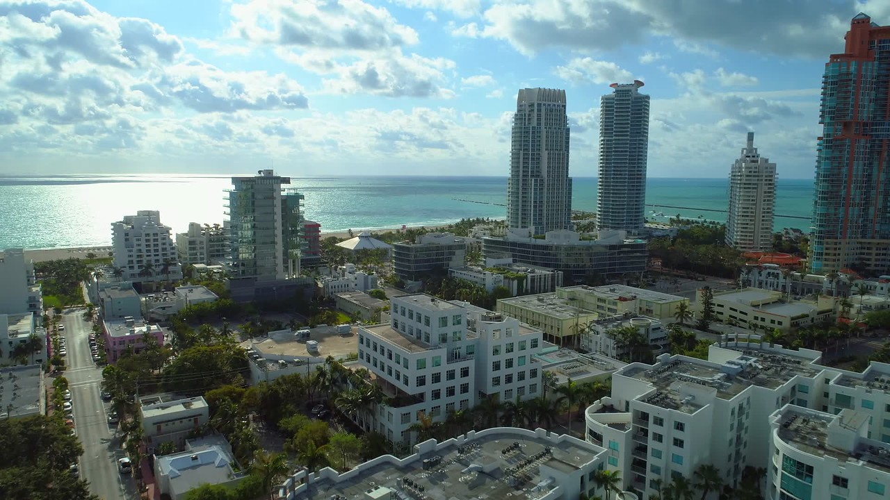 Miami Beach aerial drone video footage