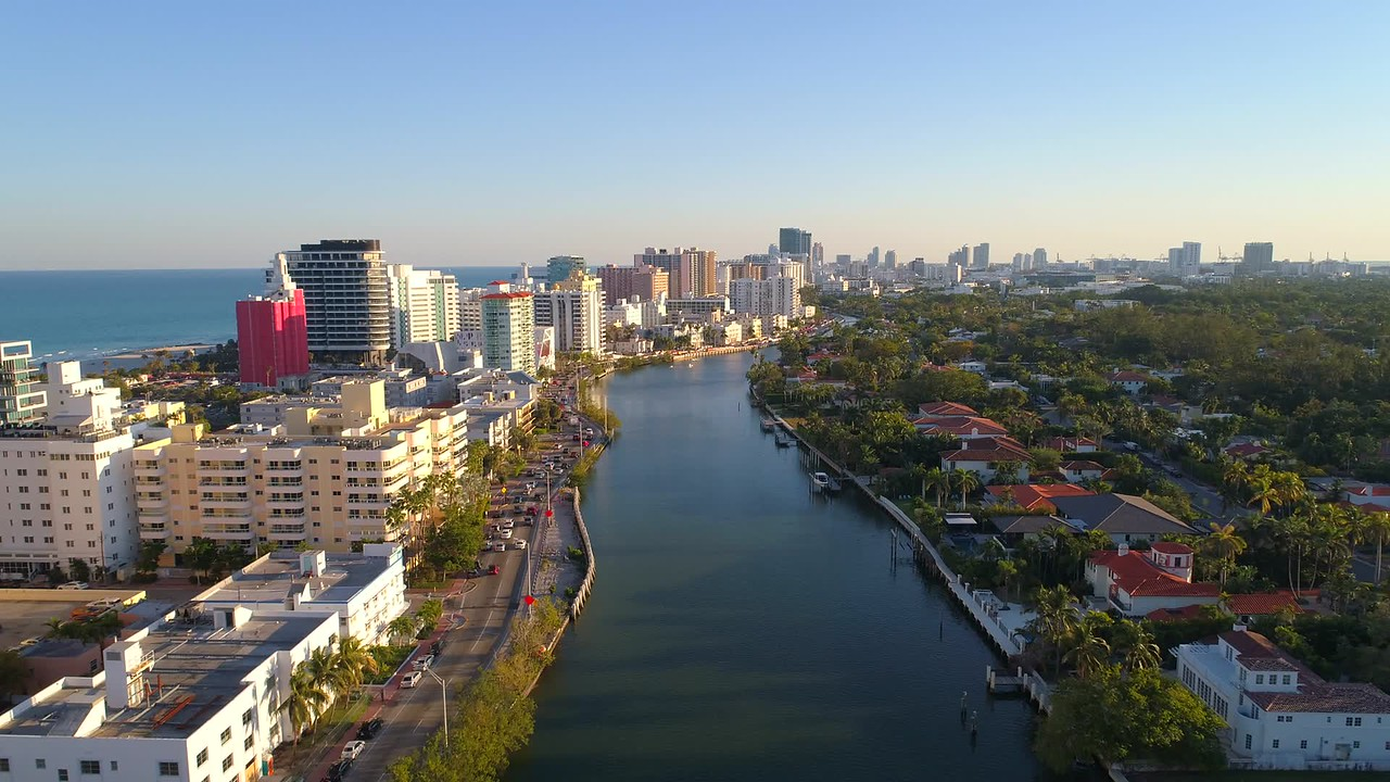 Drone aerial Miami Beach Indian Creek waterway
