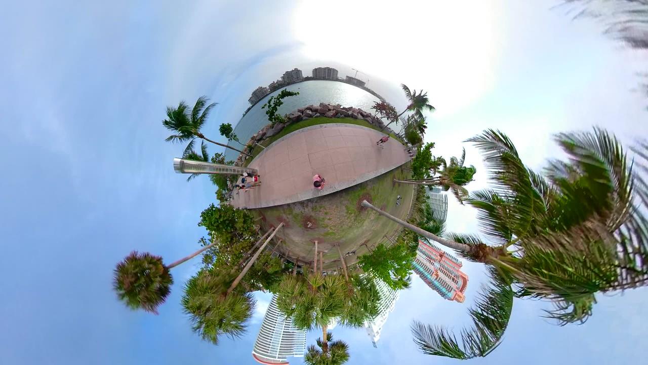 Tiny globe miniature planet Miami Beach Florida South Pointe Park