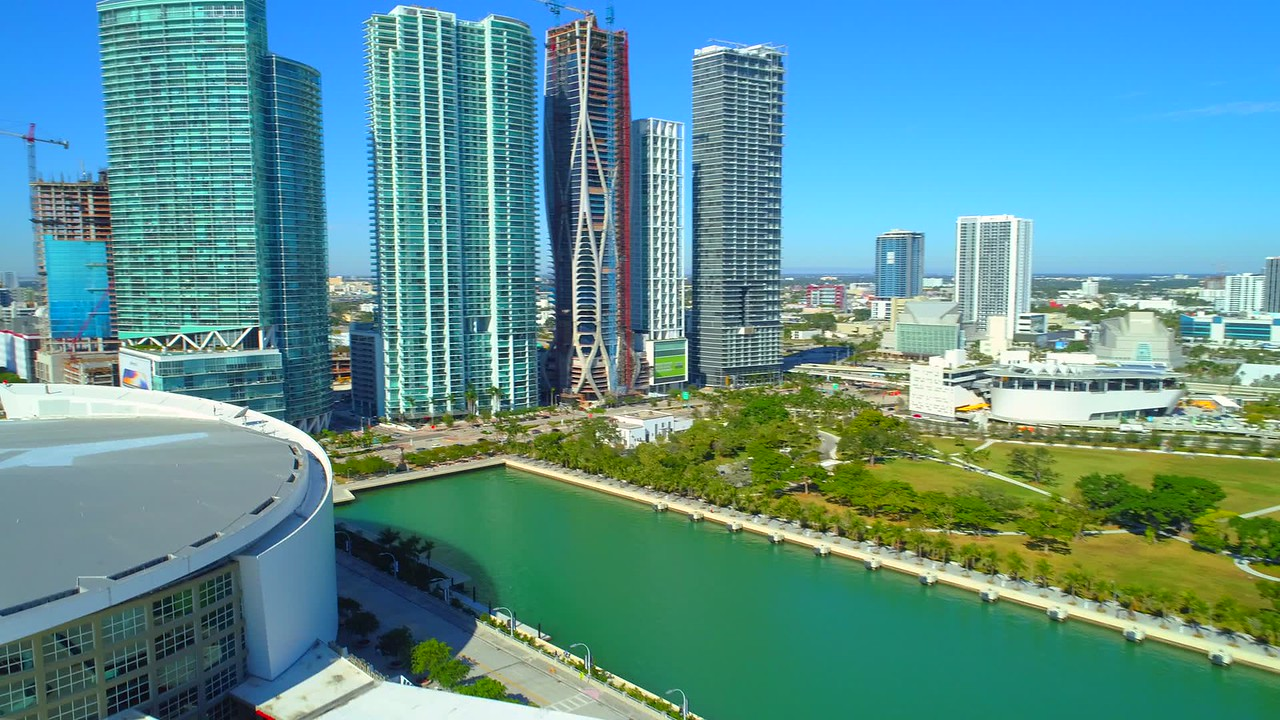 Stock footage modern highrise condominiums Downtown Miami drone shot 4k