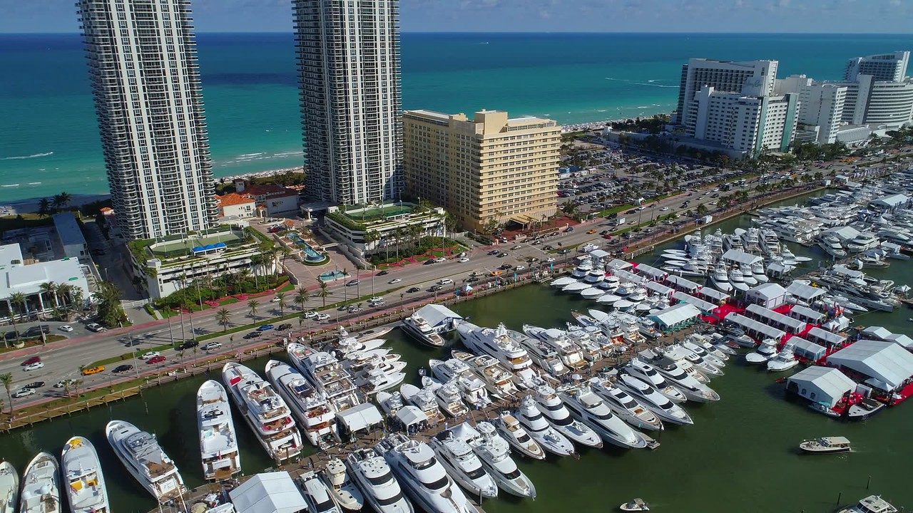 Luxury boats in Miami aerial 4k video footage