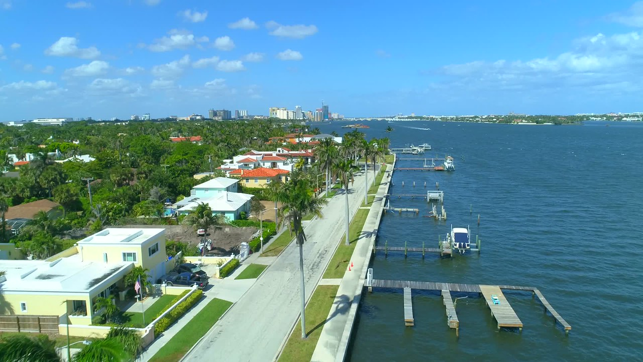 Aerial video of Flagler Drive West Palm Beach Florida USA 4k 60p