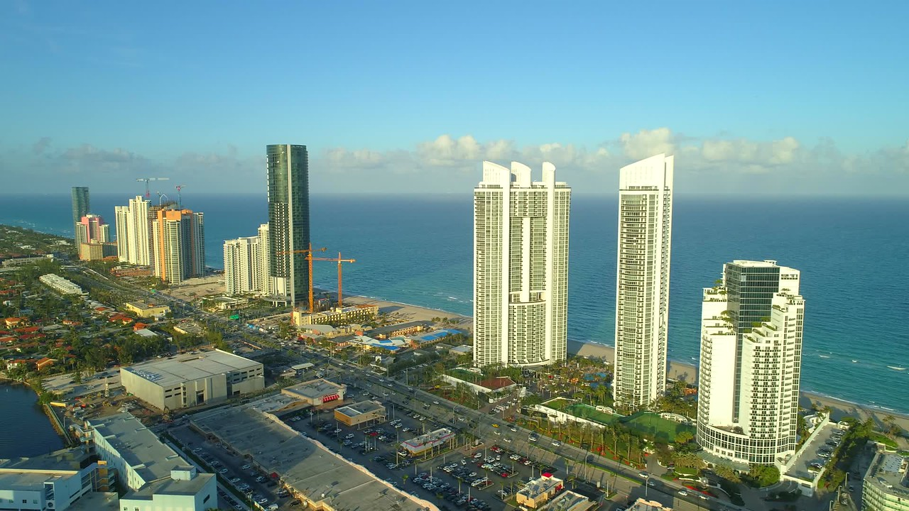 Aerial tour of Sunny Isles Beach Florida USA