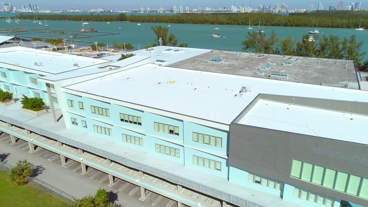 Aerial drone shot Mast Academy school Key Biscayne 4k