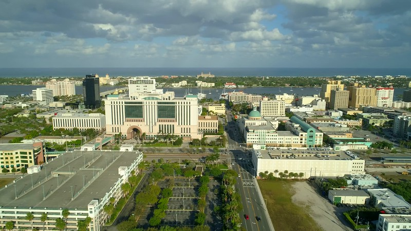 Aerial footage Downtown West Palm Beach Florida 4k 60p