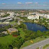 Aerial establishing shot FIU College Campus Miami 4k 24p
