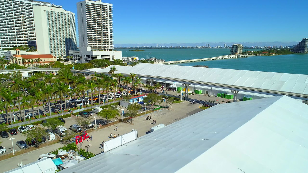 Aerial video Art Miami Basel tent 2017