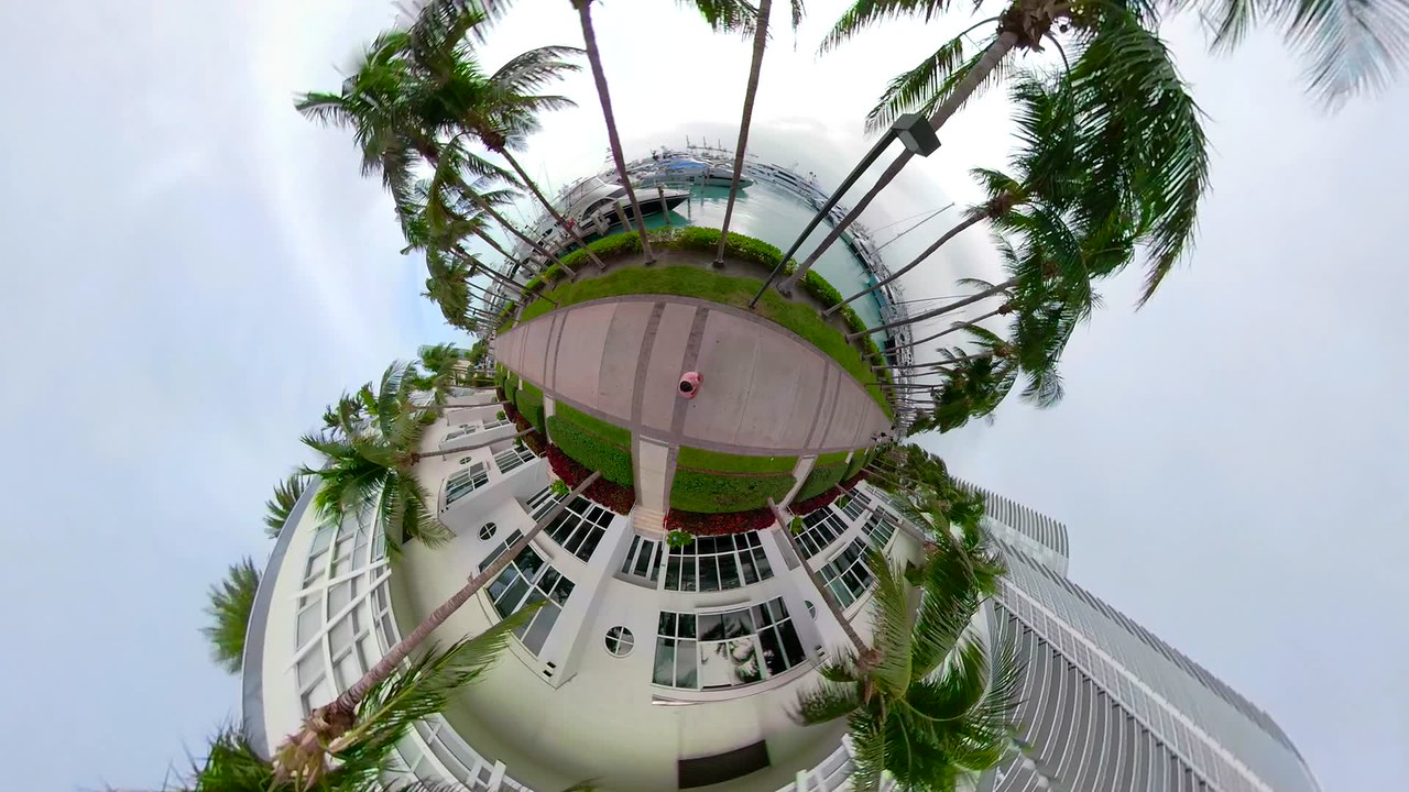 Miami Beach Marina and condominiums tiny planet stabilized footage