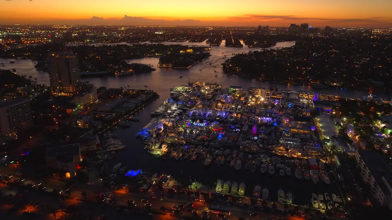 Hyperlapse Twilight scene Fort Lauderdale boat show 4k aerial