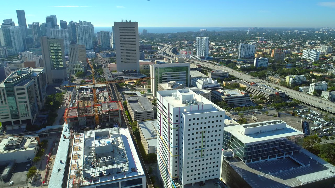 Aerial video footage of Downtown Miami by I95