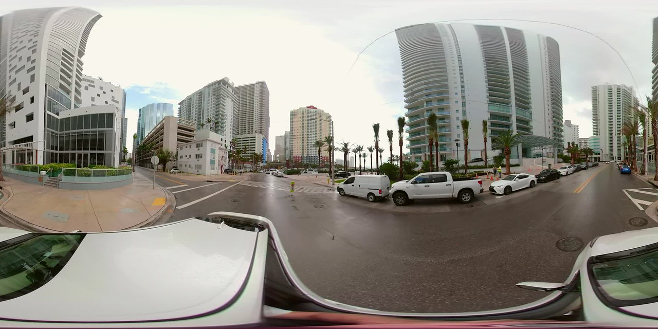 Brickell Bay drive motion video tour 360vr spherical driving plates