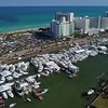 Collins Avenue Miami Beach boat show aerial shot with a drone