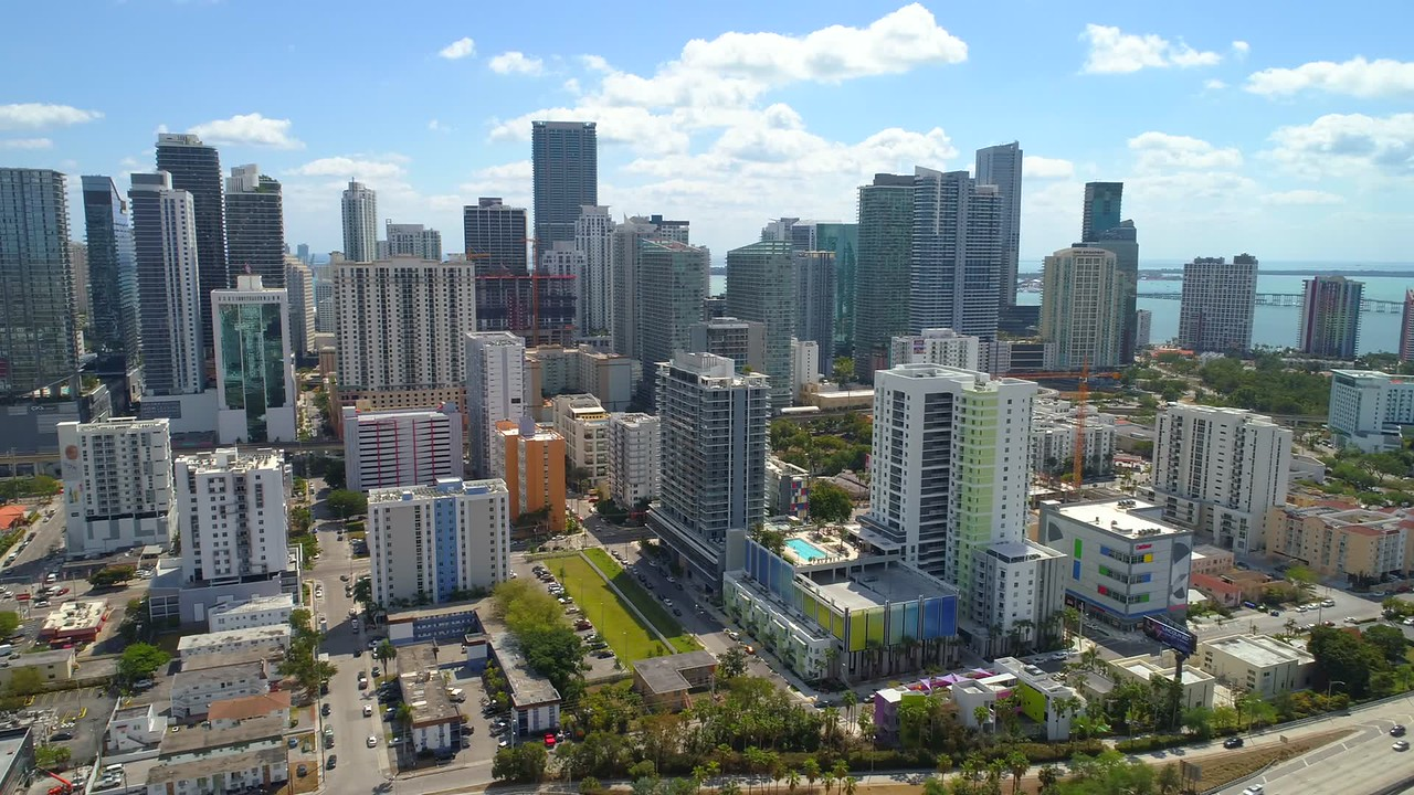 Aerial lateral footage Miami Downtown Brickell clip 3