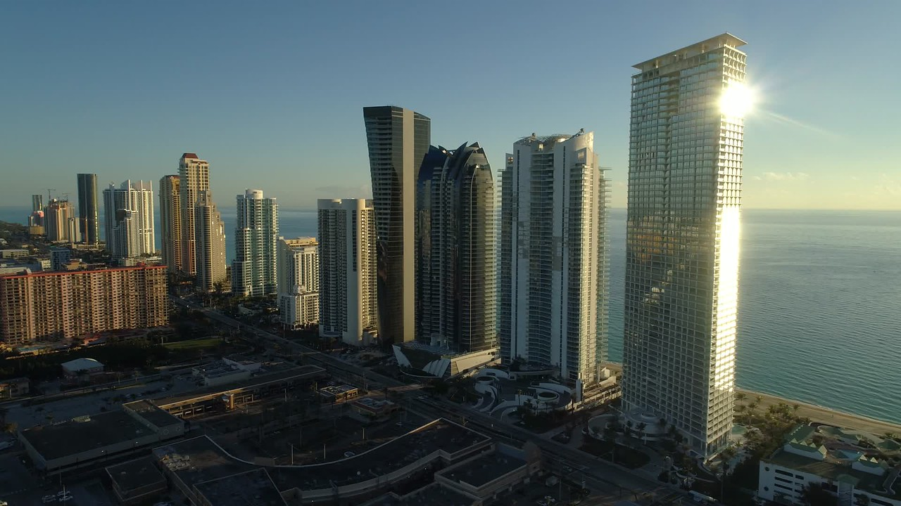 Sunny Isles Beach aerial drone video shot 4k