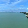 Miami concrete bridge over water shot with drone aerial